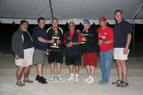 The Capo Dei Tori squad took second place. Pictured from left, John Rettura, tournament director; Commissioner Patrick M. O'Malley; Capo Dei Tori members Tom Mcllwee, Joe Berardelli, Tony Russo and Sam Cottese; and William Davis, the deputy director of the county's Parks & Recreation Department.